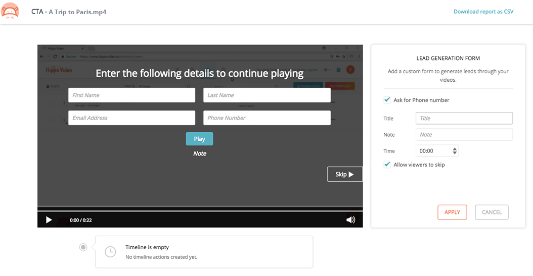 Add lead generation forms inside the video